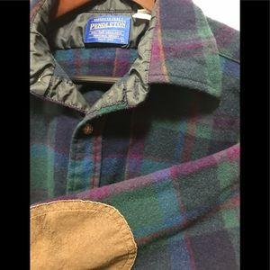 PENDLETON 100% Virgin Wool Large Green Plaid Shirt